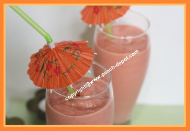 Smoothie with Peaches Strawberries and Pineapple