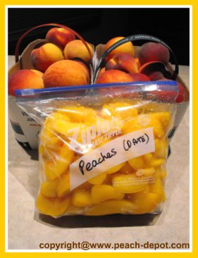 Peaches prepared for freezing using the Dry Pack Method WITHOUT SUGAR.