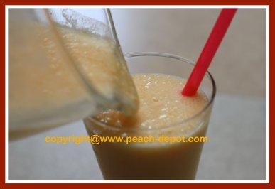 Making a Homemade Peach Smoothie / Milkshake with milk and Yogurt or Ice Cream