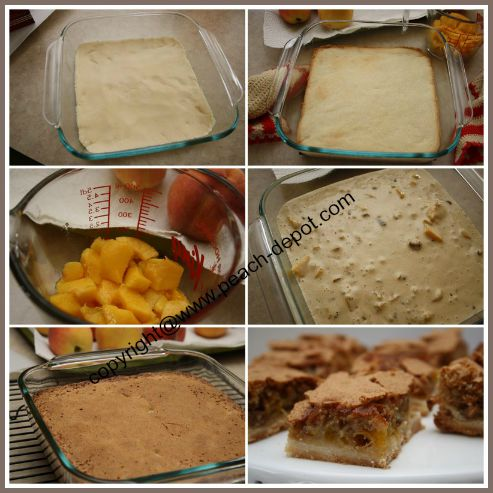 Collage of Pictures Making /baking a Fresh Peach Bars Recipe