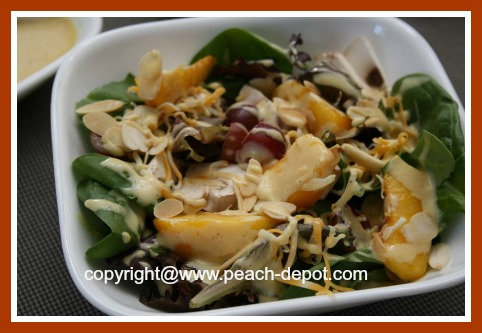 Green Leafy Salad with Sliced Fresh Peaches