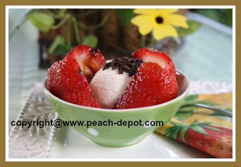 Grilled Dessert Idea - Grilled / Barbequed Strawberries with Ice Cream Dessert