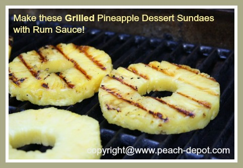 Grilled Pineapple Dessert Sundaes with Rum Sauce