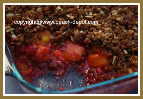 Homemade Raspberry Peach Crisp without Oatmeal Topping