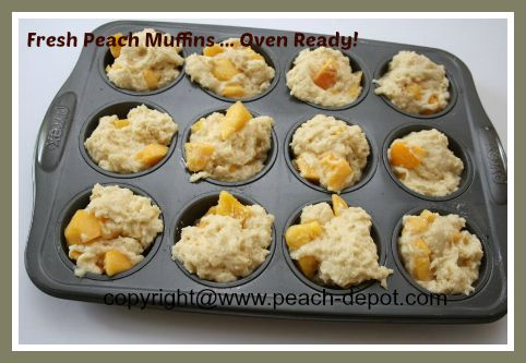 Making Peach Muffins Oven Ready