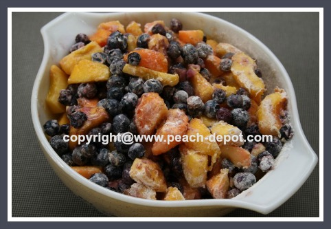 Making Peach Blueberry Crumble Recipe