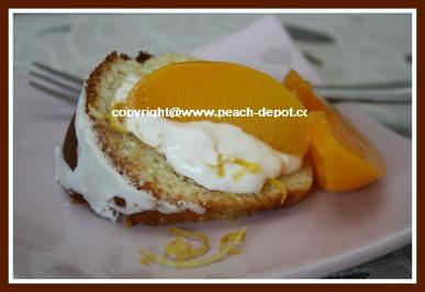Mother's Day Easy Cake Idea - Fresh Lemon Bundt Cake with Sliced Peaches and Cream
