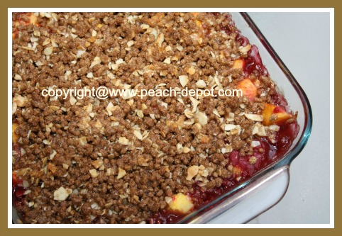 Peach Raspberry Crisp with All Bran Cereal Topping