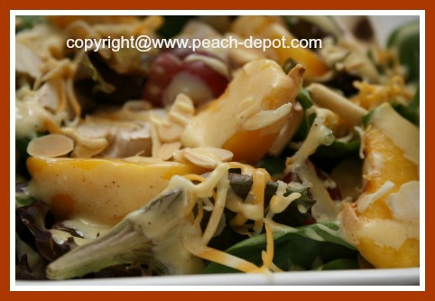 Peach Spinach Salad with Red Grapes and Mayonnaise Dressing