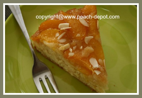 Slice of Peach Upside Down Cake-Easy Recipe Fresh Peaches
