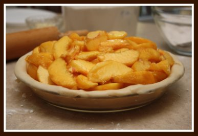 Making a Homemade Peach Double Crust Pastry Pie