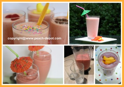 Collage Picture of Peach Smoothies and Peach Shakes Recipes for Making at Home