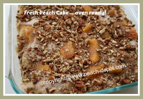 Peach Cake is Ready for the Oven