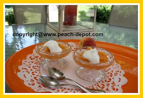 Frozen Peaches thawed for Dessert with Cream