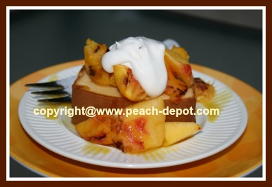Grilled Peaches on Pound Cake for Dessert