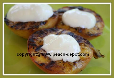 Grilled Dessert Idea Nectarines and Yogurt on the BBQ