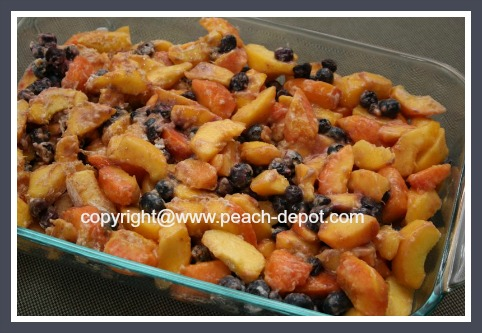 Peach Blueberry Crumble in a 9