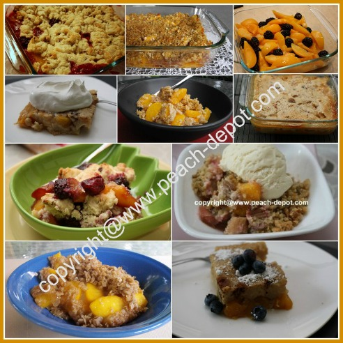 Picture Collage of Recipes for Peach Cobblers Crumbles and Peach Crisps